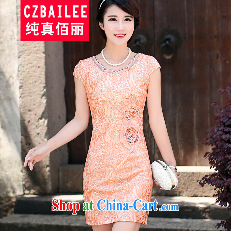 Jin Bai Lai cheongsam improved summer 2015 Chinese style high-end lace dress beauty graphics thin short-sleeved package and dresses 4 XL