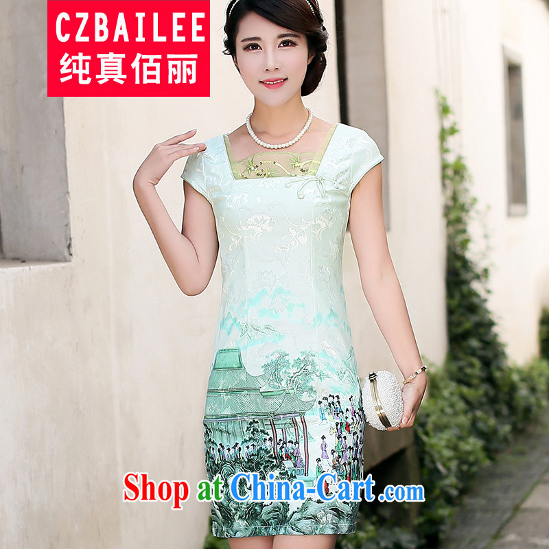 Jin Bai Lai dresses embroidery dress stamp 2015 female Chinese style stylish retro short-sleeved new cheongsam dress improved 4 XL
