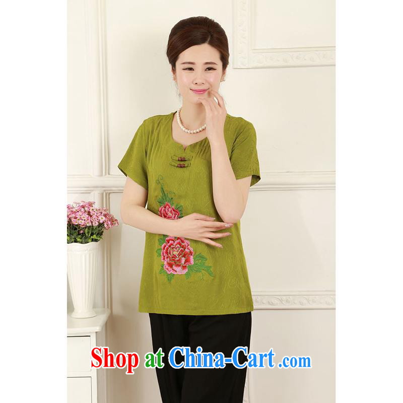 100 brigade summer Bailv new cotton, old ladies embroidered Chinese package MP - AE - C 1018 _ _4-Color Qiu Xiang green 4 XL