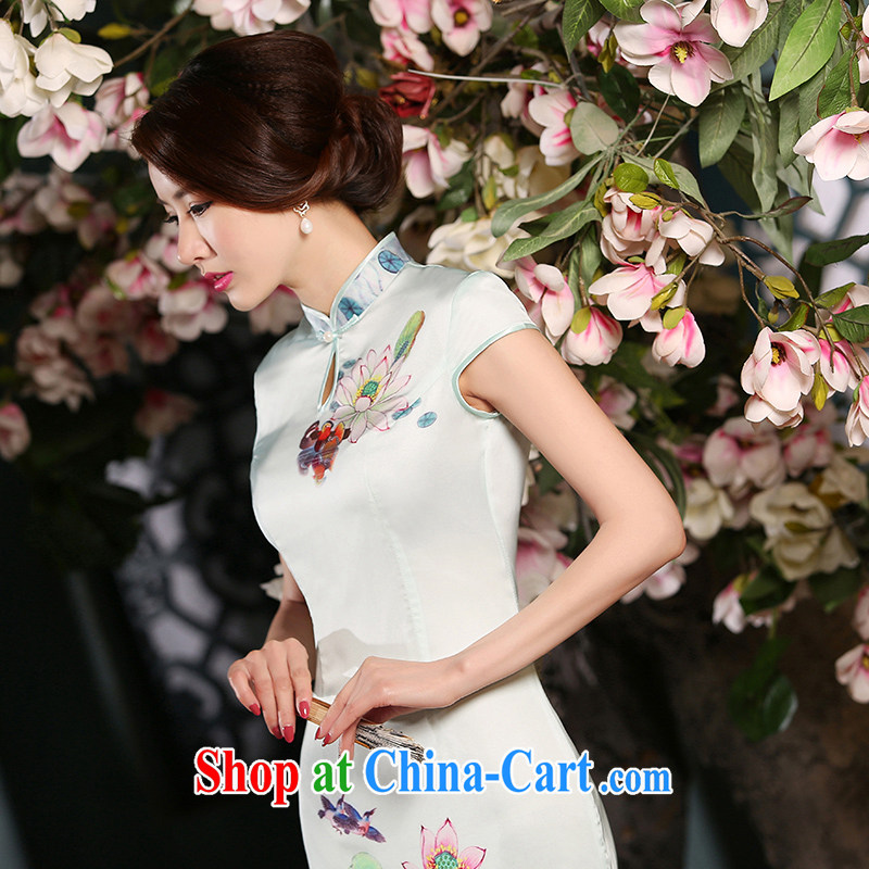 The Yee-Elizabeth I would be grateful if the 2015 New Long cheongsam improved female cheongsam dress summer long cheongsam dress everyday stylish ZA L 301