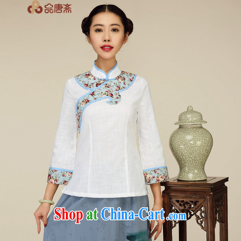 Mr Henry Tang, Id al-Fitr 2015 spring new Han-improved female Chinese T-shirt Chinese wind Long-Sleeve Chinese T-shirt white XL