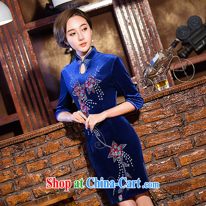 Love spell Fort 2015 new daily fashion velvet cuff in short spring and autumn and replace the older mom with dress cheongsam blue XXL _98 _ 80_ 102_