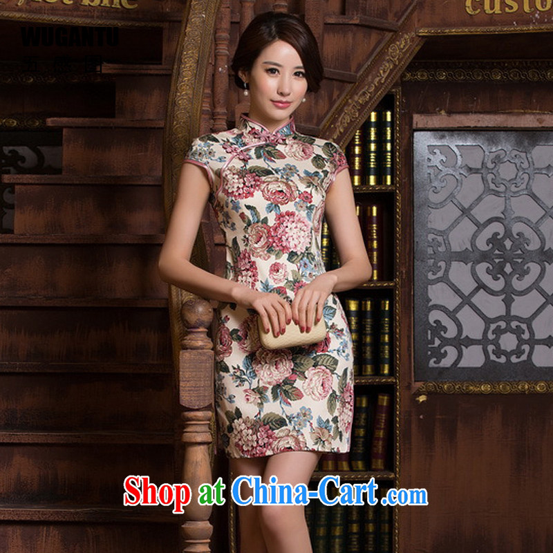 5 AND THE 2015 spring and summer New China wind stylish improved retro Sai Kung cotton cheongsam dress short daily beauty dresses WGT 0440 photo color XXL