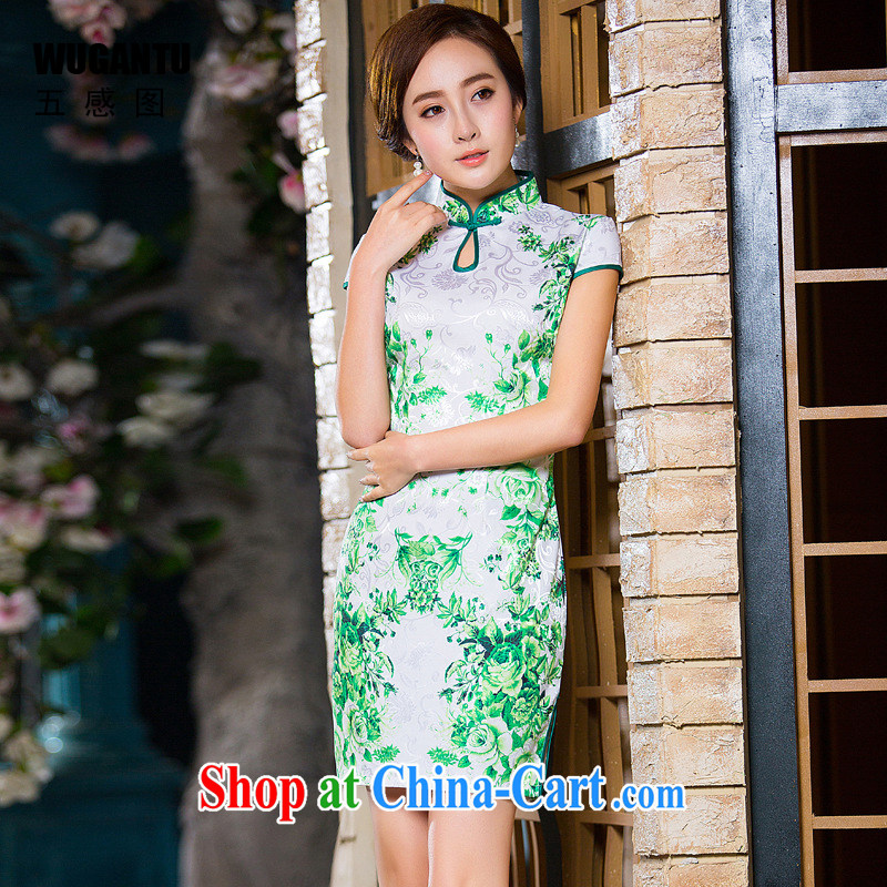 5 AND THE 2015 summer New Beauty sexy cheongsam dress China wind National wind dress green flower WGT 172 photo color XXL