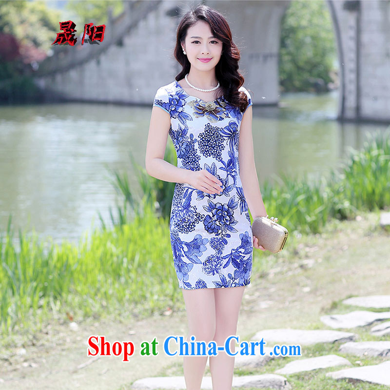 Sung Yang 2015 summer New Beauty video thin the aging trend stamp short-sleeved round-collar improved cheongsam dress Blue on white flower XXL