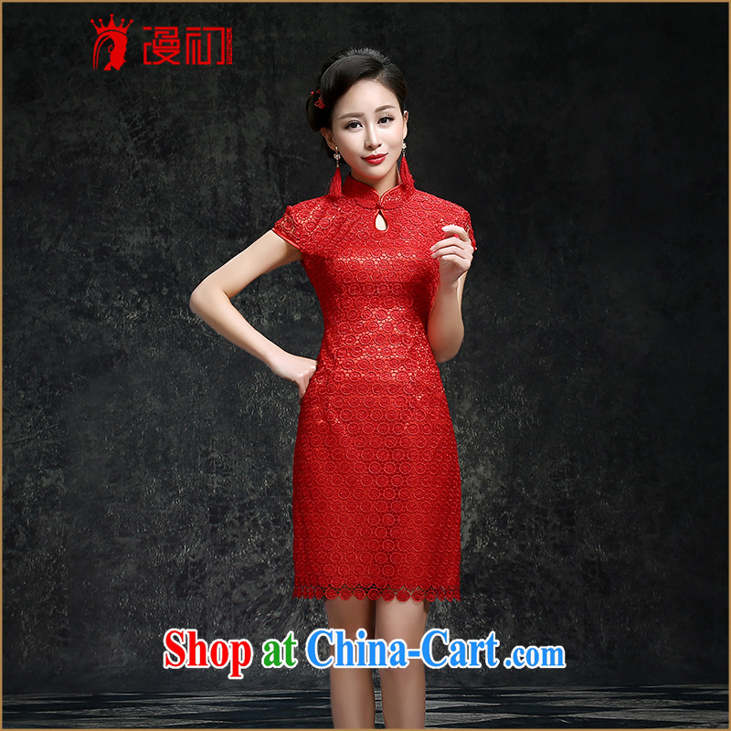 Early definition 2015 new bridal dresses Classic red Lace Embroidery short cheongsam red.