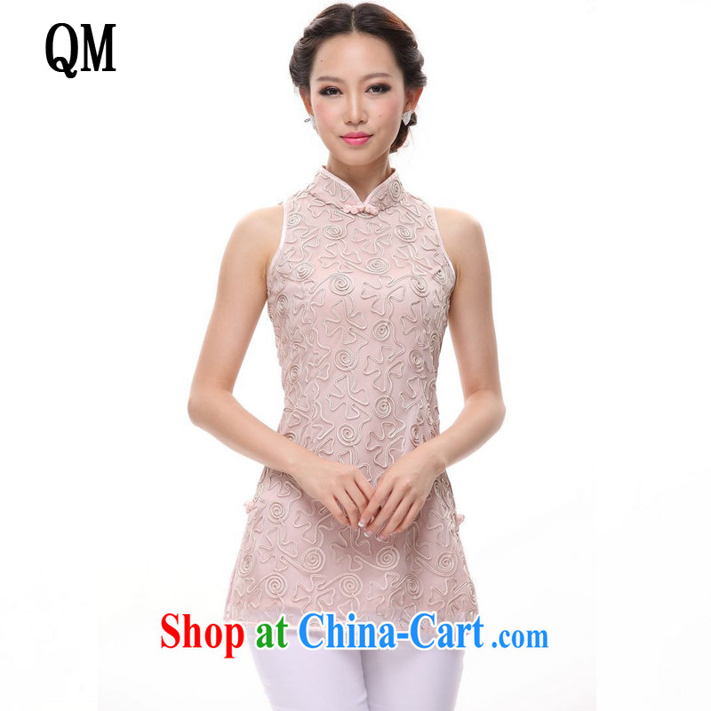 Light (at the end) QM summer antique Chinese Chinese is a qipao, Chinese T-shirt XWG 1207 - 8 pink XL