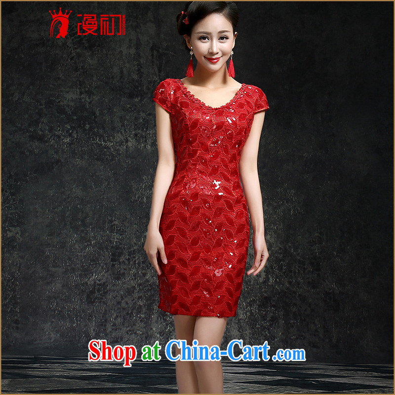 Early definition 2015 new marriages cheongsam classical red-chip lace short dresses.