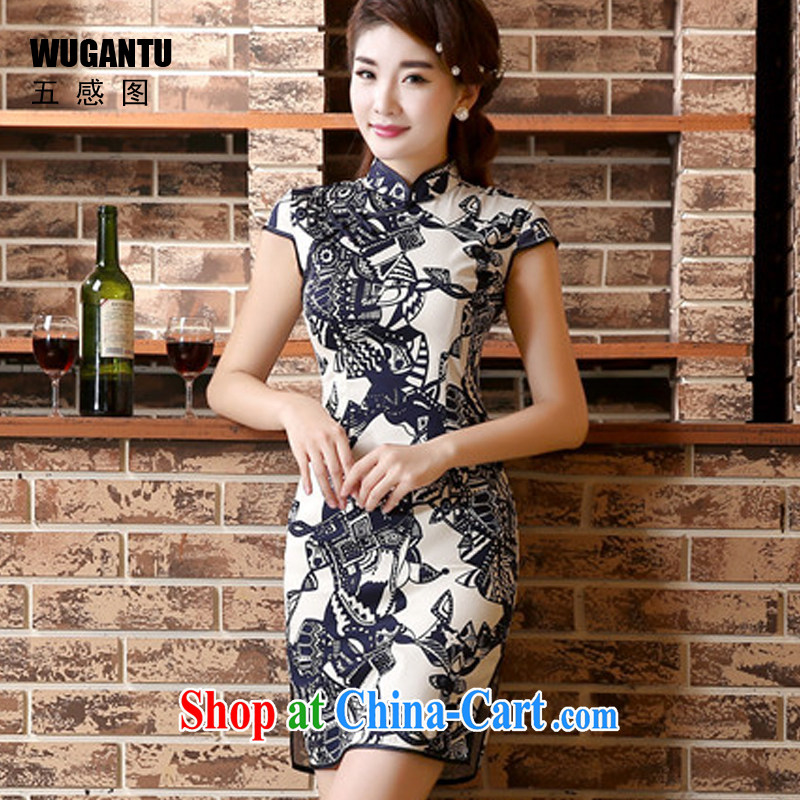 5 AND THE 2015 spring and summer new, improved cheongsam dress retro beauty short cheongsam dress dress dress WGT 45,011 picture color XXL