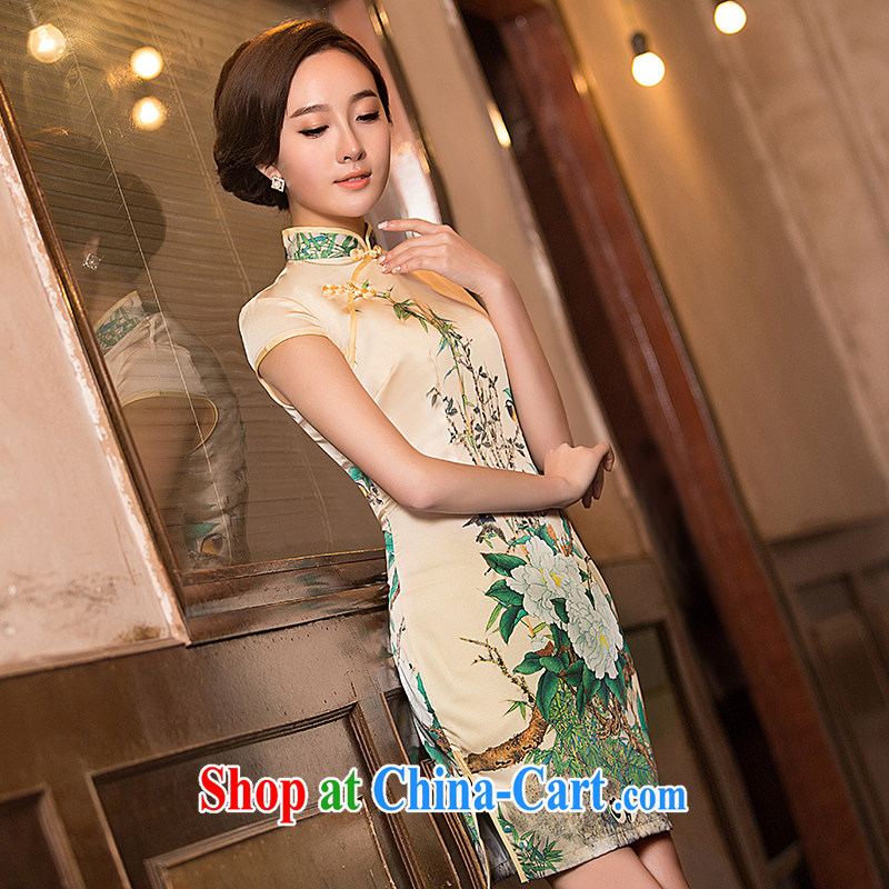 Love spell Fort Lauderdale 2015 new summer fashion graphics thin beauty short, short-sleeved, for Chinese qipao light yellow M _86 _68 _ 90_