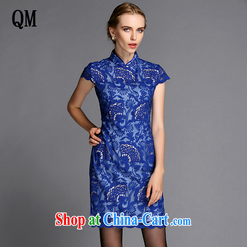 Shallow end, high-end Openwork embroidery improved stylish big beauty cheongsam dress XWG 140,301 blue XXXL