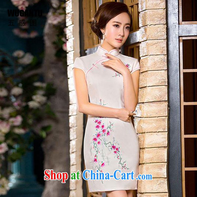 5 AND THE 2015 spring and summer new cheongsam Chinese style dress daily fashion improved silk short cheongsam dress WGT 173 photo color XXL