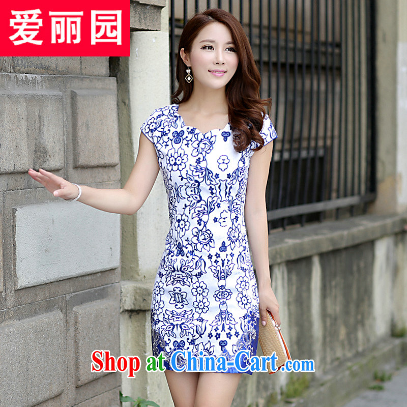 Alice Park 2015 summer new dress cheongsam dress summer dresses improved package and skirt dress girls 52 blue XL
