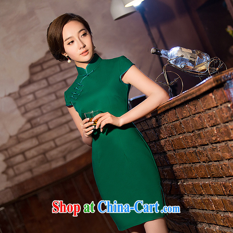 Love spell Fort Lauderdale 2015 new summer fashion graphics thin beauty short, short-sleeved, for Chinese qipao D. green XXL _98 _80 _102