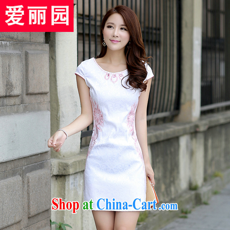 Alice Park 2015 summer new dress cheongsam dress summer dresses improved package and skirt dress girls 53 red XL
