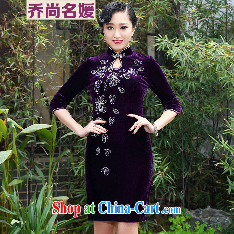 Joe is still a high-won gold velour cheongsam dress dress wedding MOM summer SRDZ 114 purple short-sleeved 4 XL