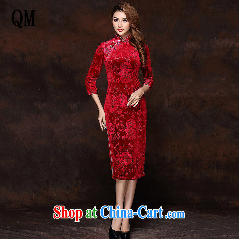 Shallow end improved Stylish retro embossed 7 cuff wool long cheongsam XWG 141,008 red XXXL