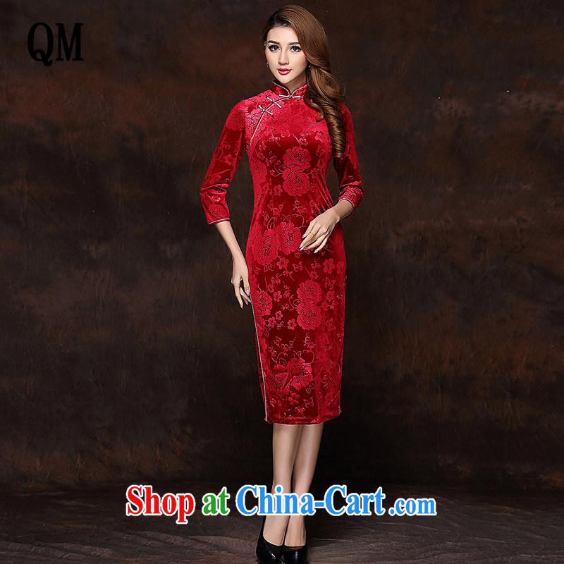 Shallow end improved Stylish retro embossed 7 cuff wool long cheongsam XWG 141,008 red XXXL