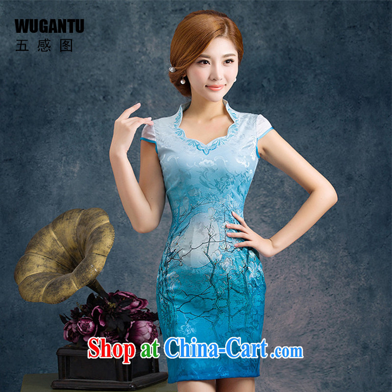 5 the sense of beauty and short cheongsam Orchid dresses 2015 New China wind National wind gradient WGT 60,049 royal blue XL