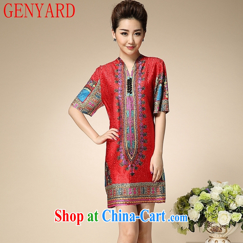 Qin Qing store 2015 pressure hem stamp middle-aged dresses spring and fall in older mothers, the female yjn 002 red XXXL
