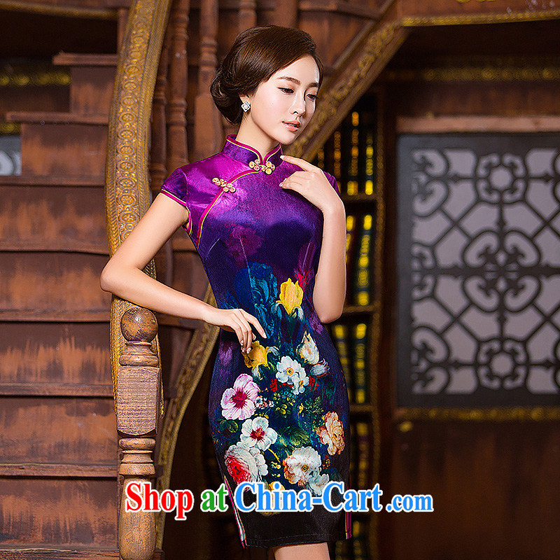 Love spell Fort 2015 dresses new spring really silk skirt Chinese Antique improved stylish summer dresses short cheongsam dress sky purple XXL _98 _80 _102