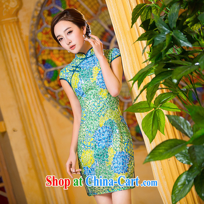 Love spell Fort Lauderdale daily dresses 2015 new suit Chinese Antique improved stylish summer dresses short cheongsam dress suit XXL (98 /80 /102