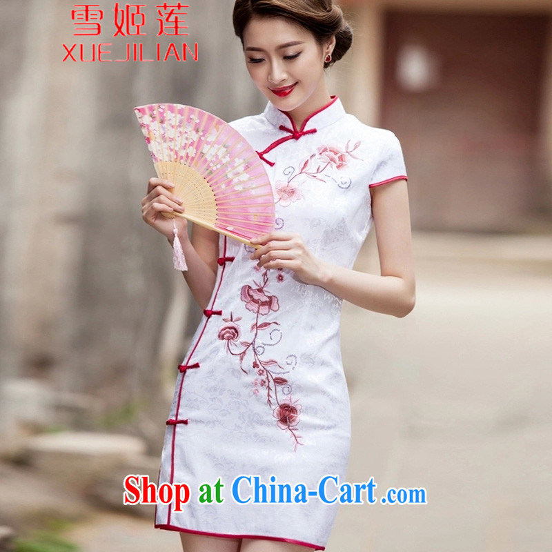 Hsueh-Chi Lin Nunnery 2015 spring and summer New Tang with retro improved stylish short, cultivating daily cheongsam dress _1124 white L