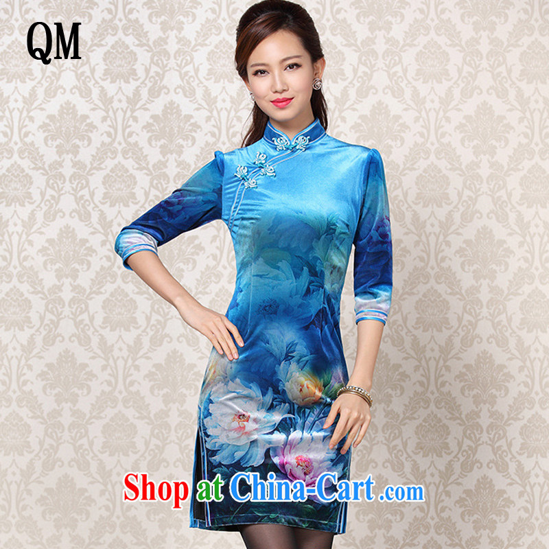 Shallow end improved Stylish retro wool stamp duty cuff in daily short cheongsam XWG 13 - 25 blue XXXL