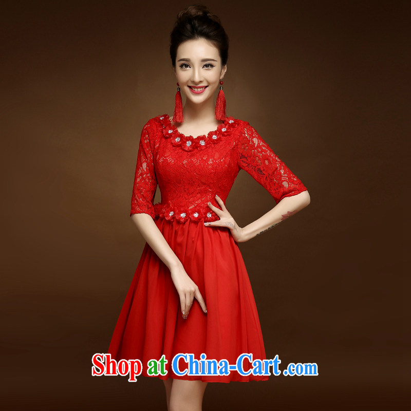 A good service is 2015 new dresses short spring and summer red bride toast wedding clothes Chinese style dress red 2 XL