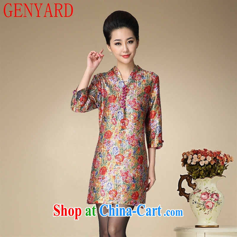 Qin Qing store 15 spring new XL female temperament mom with skirt cultivating silk stamp duty 7 cuff dress yellow XXXL