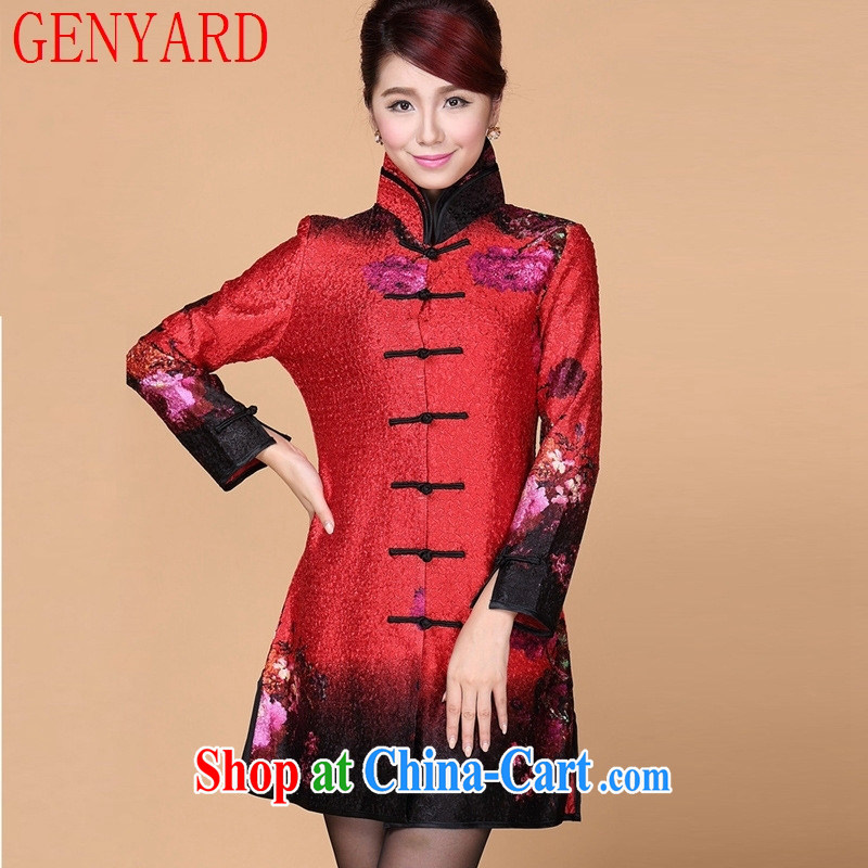 Qin Qing store spring new, older women long-sleeved wedding dresses mother load dress wedding mom with wrinkled dresses red 3XL