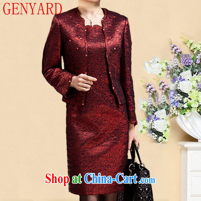 Deloitte Touche Tohmatsu store sunny spring loaded MOM wedding with long-sleeved dress skirt set older load dress skirt N 1571 purple 4 XL