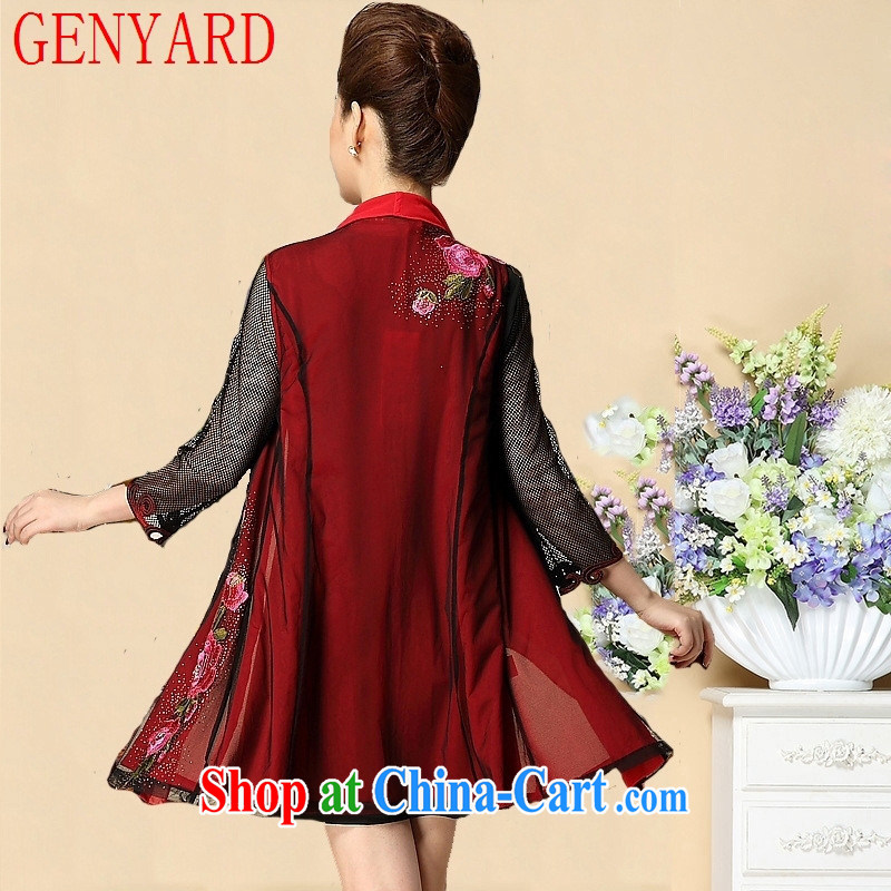 Qin Qing store new spring and autumn, the code mother load dresses wedding Women's clothes, replace older dresses N 1570 by red 4 XL