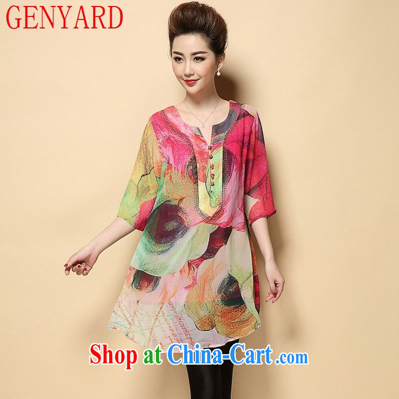 Deloitte Touche Tohmatsu store sunny spring and summer new larger stamp dress thick M middle-aged mother with snow woven dresses N 1591 Map Color 4 XL