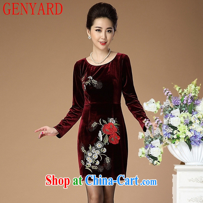 Deloitte Touche Tohmatsu store sunny spring new embroidered gold velour long sleeved dress middle-aged mother with dresses N 1556 wine red 4 XL