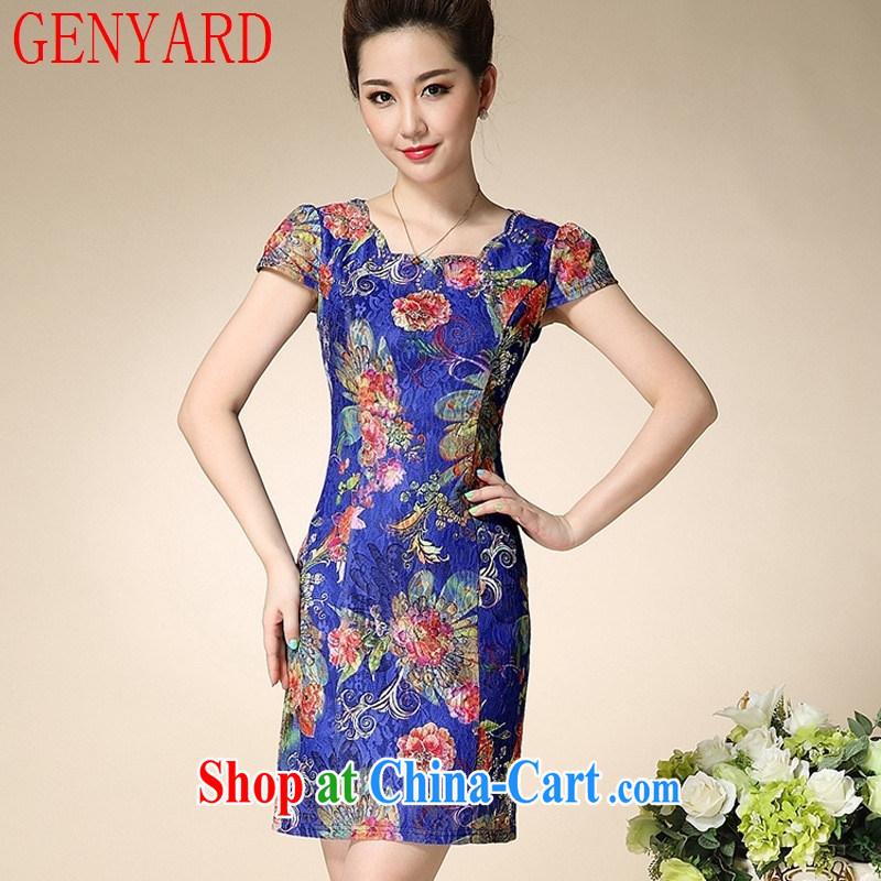 Deloitte Touche Tohmatsu sunny store 2015 summer new, female, older female MOM dresses blue rose 3 XL, GENYARD, shopping on the Internet