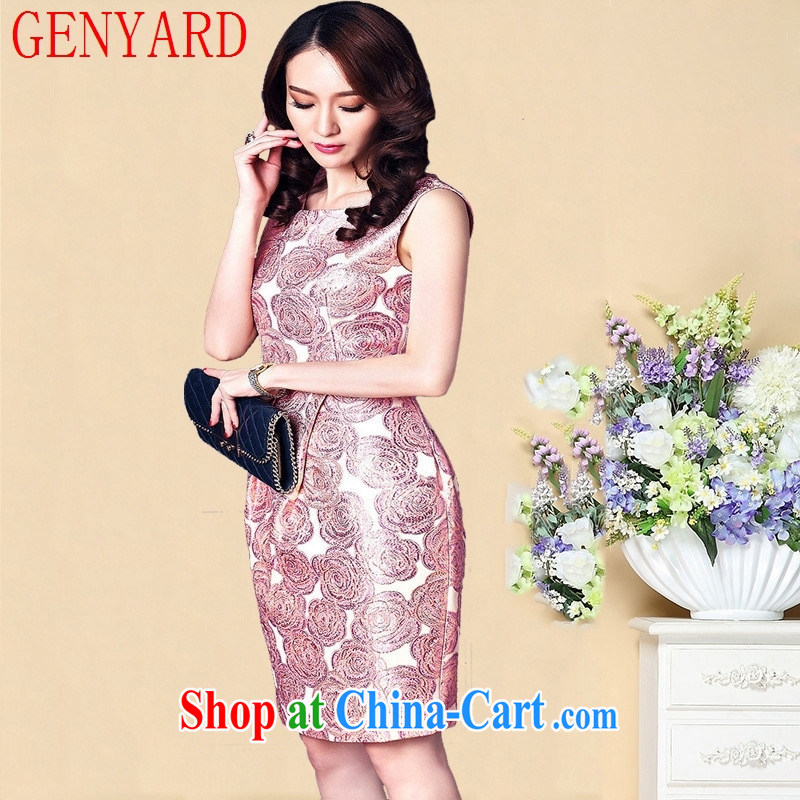 Qin Qing store 15 summer new Pink dresses mother load further dress N 1576 pink 3 XL