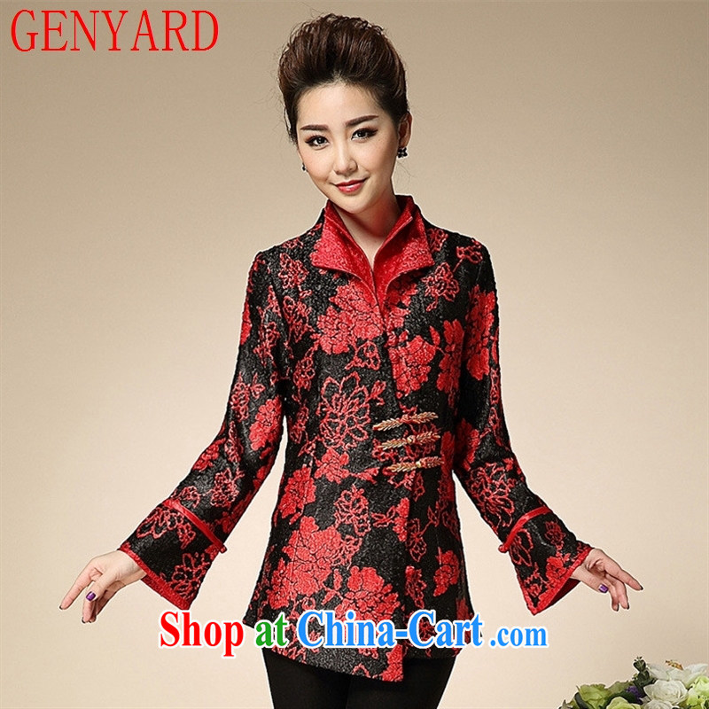 Qin Qing store wedding service wedding upscale MOM load the code style weddings wedding spring wedding silk floral jacket red 3XL