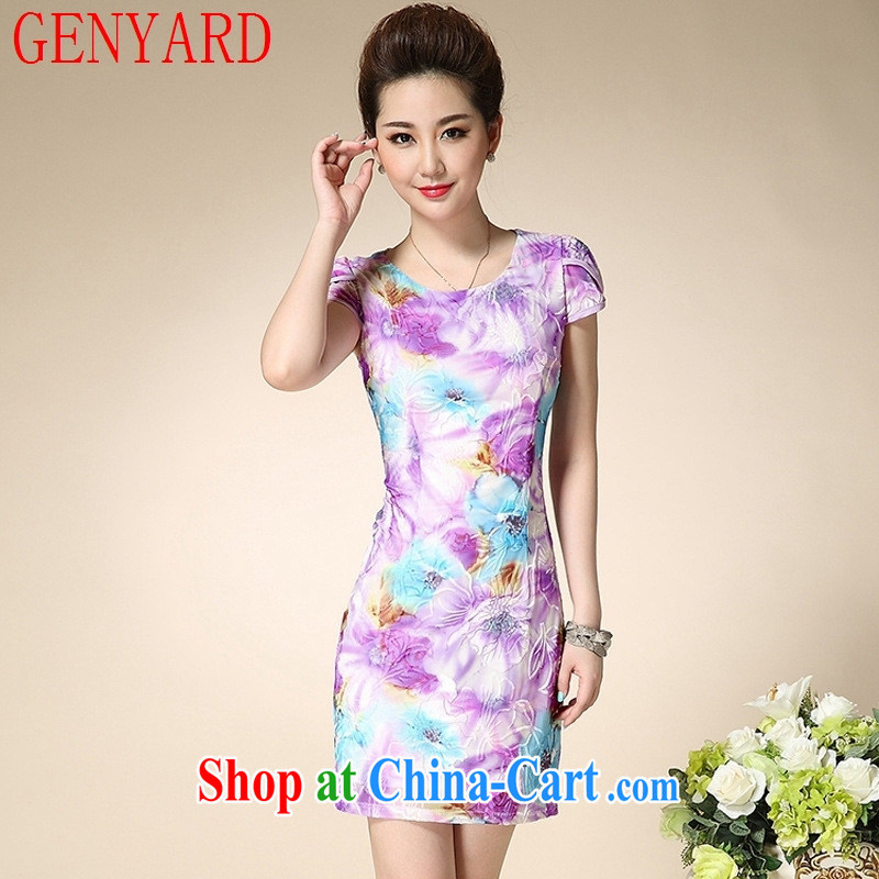 Qin Qing store 2015 summer new cheongsam dress stamp dress middle-aged mother with N 15,106 purple 3XL