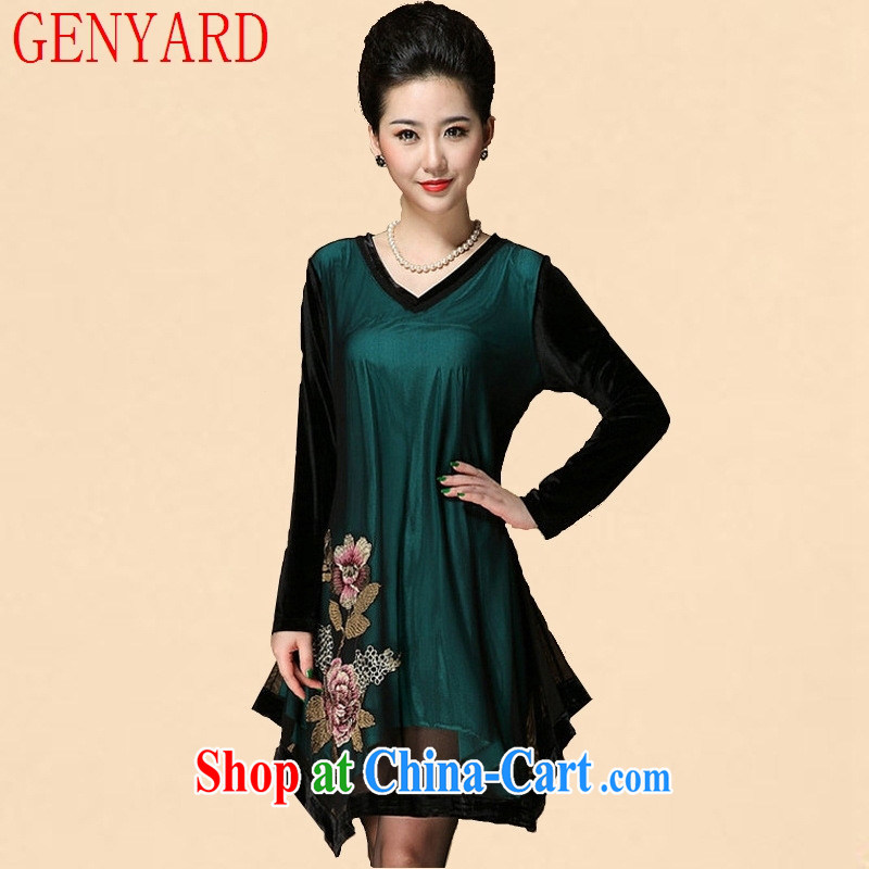 Qin Qing store 2015 new spring in Ms. older, long dresses fall loose the code mom with long-sleeved dresses wine red 4 XL