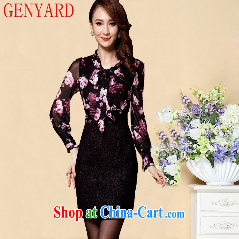 Qin Qing store spring new stamp duty long-sleeved dress attire middle-aged mother with dress attire N 1560 fancy XXL