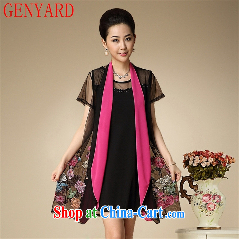 Qin Qing SHOP NEW summer middle-aged mother with dress two-piece Web yarn color embroidered N 14,269 Web yarn color embroidered XL