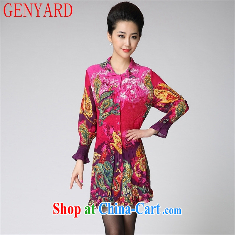 Qin Qing store burglary, spring and autumn 2015 the new, older women cultivating long-sleeved silk stamp dresses N 14,211 blue XXL