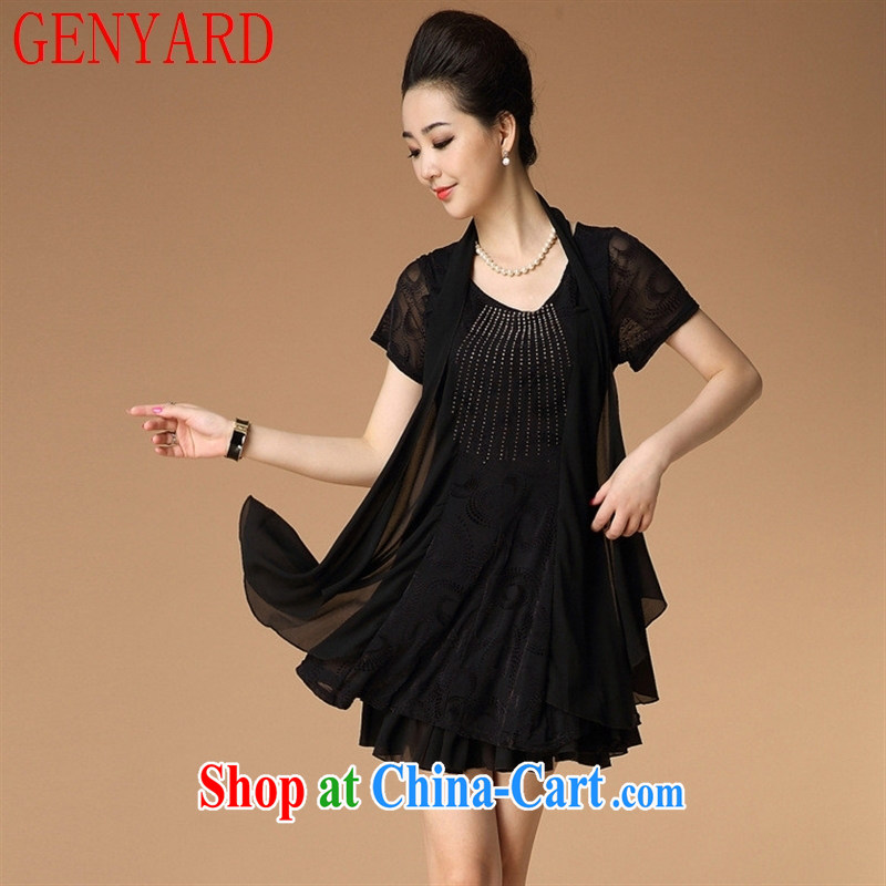 Qin Qing store new spring and summer with leave of two short-sleeved dresses MOM replace hot drill large, middle-aged and older women's clothing dresses black XXXL