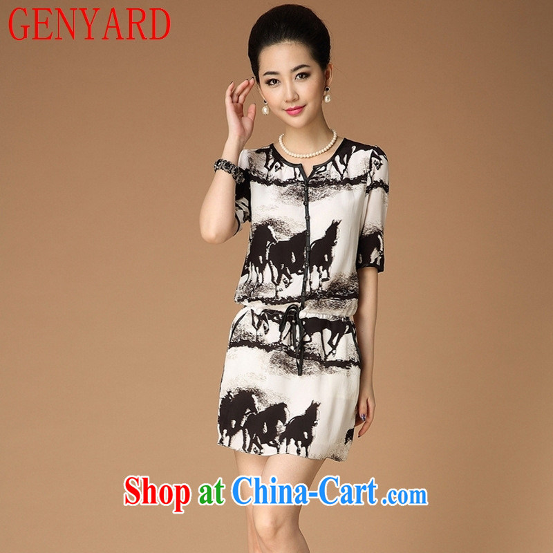 Qin Qing store women in Europe and the 2015 New American and European silk stamp duty, with dresses in Europe and America women white XXL