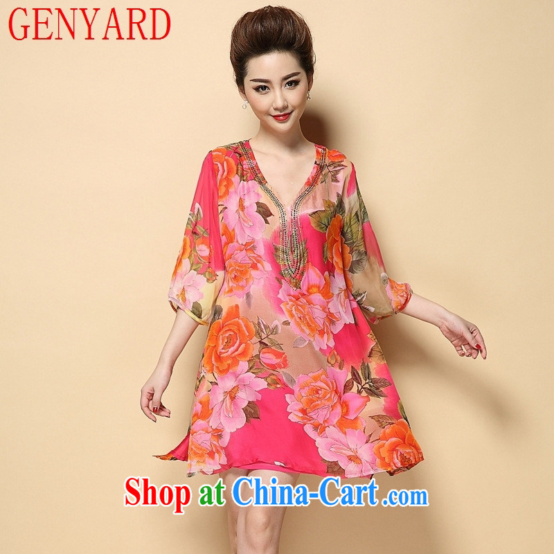 Deloitte Touche Tohmatsu store sunny summer new mom video thin and thick XL dresses, older female Korean version stamp 7 snow cuff woven suit 4 XL