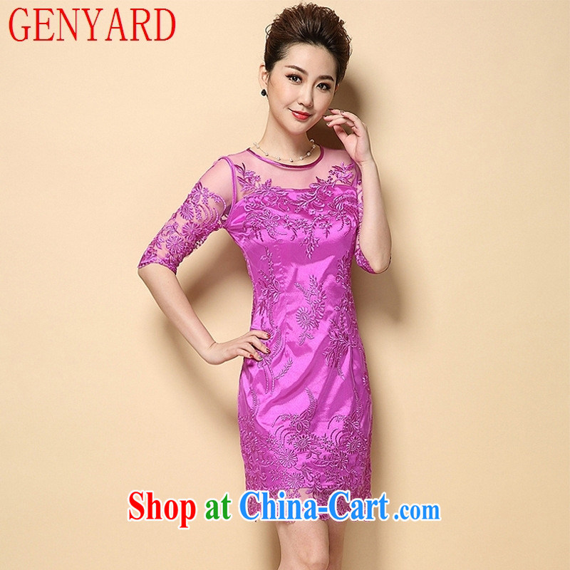 Qin Qing store 2015 spring and summer Europe boutique women's clothing embroidered Web dress bridal wedding blue XXL