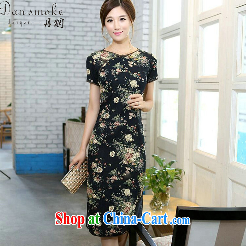 Bin Laden smoke summer Women's clothes qipao cotton Ma a field for national field manual for cultivating, short-sleeved long round-collar cheongsam Peony memory 2 XL