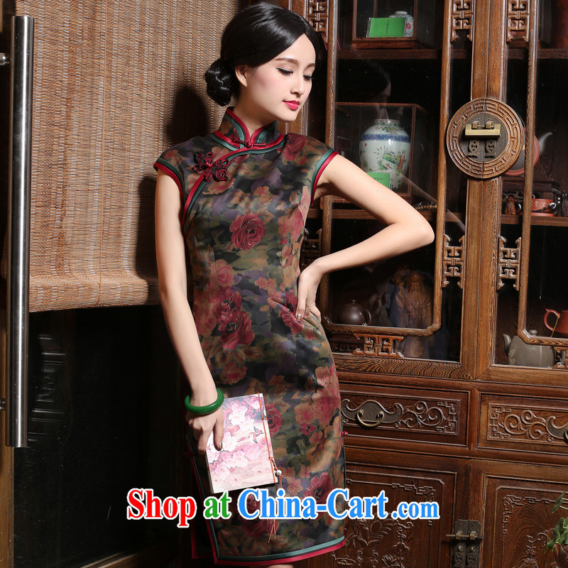 China classic retro improved modern day Ms. silk fragrant cloud yarn cheongsam dress 2015 new summer short XXL