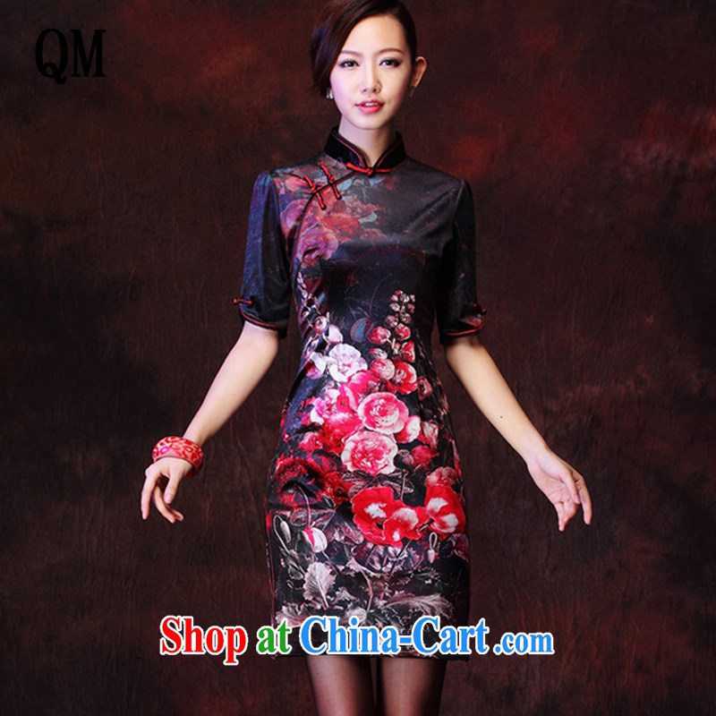 light at the Korean wool stamp retro improved marriage stylish bows elegant qipao XWG 1208 - 27 black XXXL